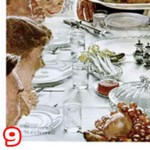 Grandmother placing turkey on table