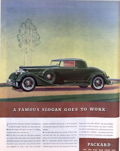A Packard car ad from 1934. A drawing of a tree is behind the vehicle.