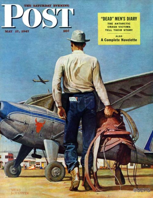 A cowboy with saddle standing in front of a grounded aircraft