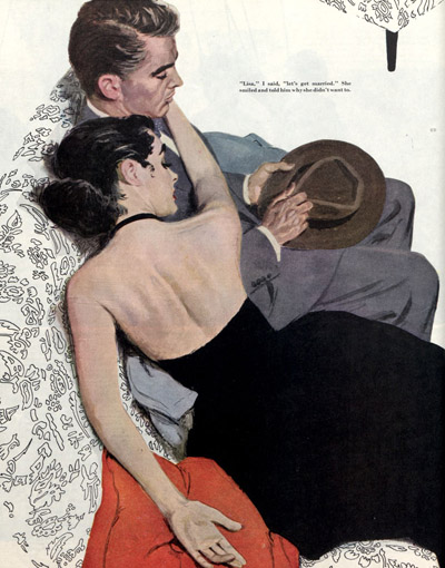 1953 illustration of woman and man lying on couch