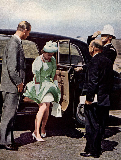 Queen Elizabeth II stepping out of car