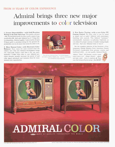 1963 Advertisement for Admiral Color TV