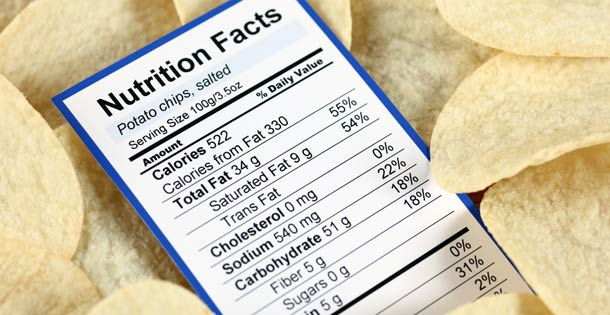 Nutrition label in a pile of salty potato chips