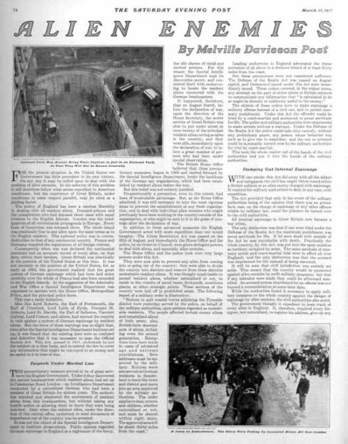 First page of a magazine article.