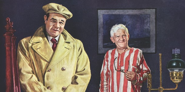 Babe Ruth, in raincoat, posing with an elderly man.