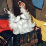 Boy pulling Santa's head out of a large, antique trunk