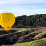 Hot air balloon in the sky above Napa Valley