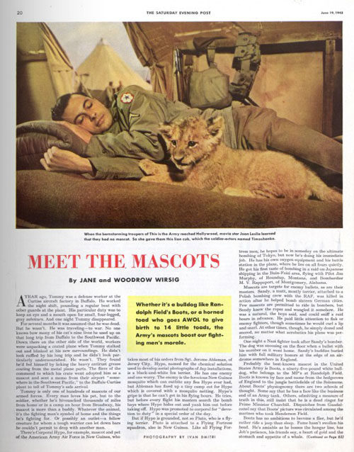 "The first page for the article ""Meet the Mascots"" from an old issue of the Saturday Evening Post"