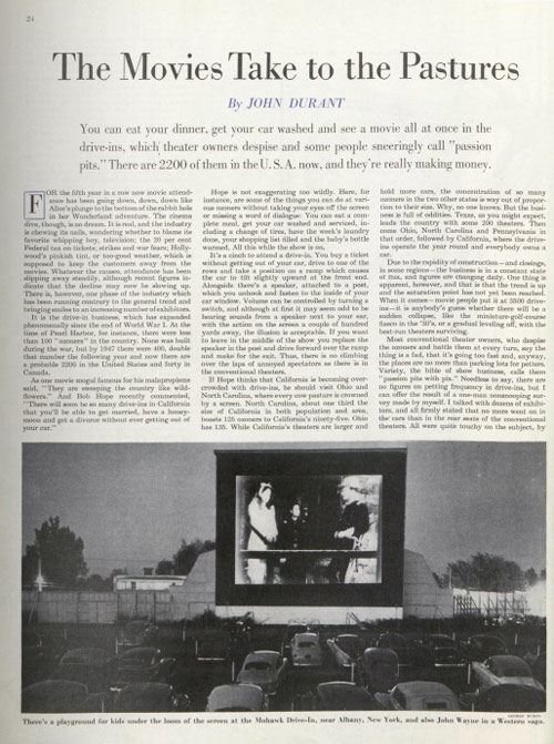 Article page on Drive-in theatres.