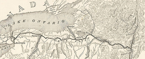 Old map showing the Erie Canal
