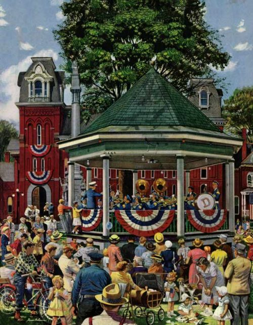 Brass band plays patriotic music in a park gazebo.