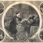 Illustration of Louisa May Alcott tending to a wounded veteran at bedside.