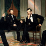 Abraham Lincoln conferring with his generals U.S. Grant, William T. Sherman, and Rear Admiral David Dixon Porter.