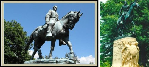 Statues of Robert E. Lee and Andrew Jackson. Both figures are on horseback.