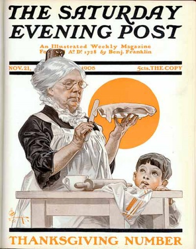 """Boy Watching Grandmother Trim Pie"" by JC Leyendecker From November 21, 1908"