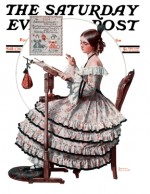 Civil War era woman doing needlepoint samplers