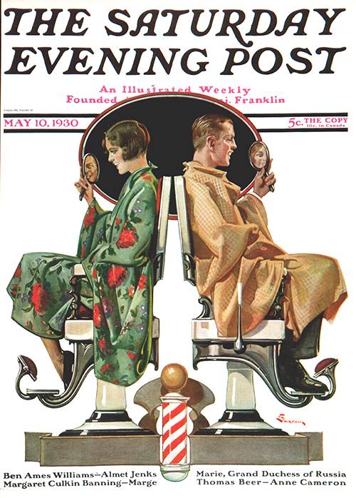 Couple in Barber Chairs by E.M. Jackson