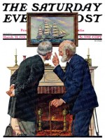 Two old men looking at a picture of a schooner