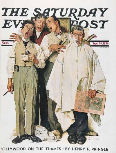 """The Barbershop Quartet"" by Norman Rockwell Sept 26, 1936"