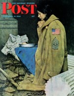 Girl in soldier's coat praying among ruins