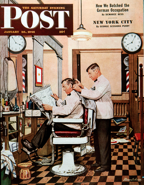 Barber Getting Haircut by Stevan Dohanos
