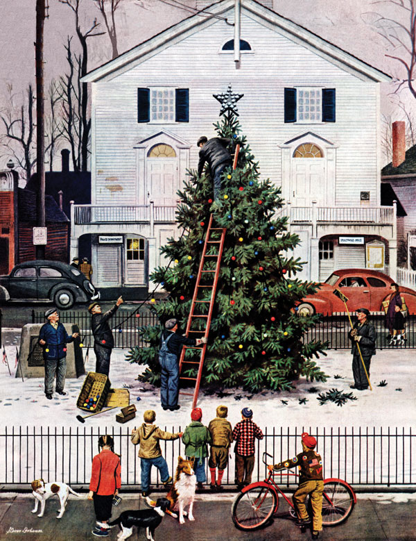 Tree in Town Square, December 4, 1948, Stevan Dohanos