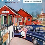 """Flat Tire at the Commuter Station,"" November 26, 1960 Post cover by Amos Sewell"
