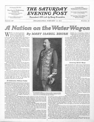 "Read the entire article ""A Nation on the Water Wagon"" by Mary Isabel Brush from the pages of the February 13, 1915 issue of the Post."