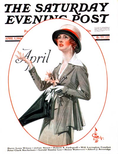April Showers by J.C. Leyendecker from April 5, 1919
