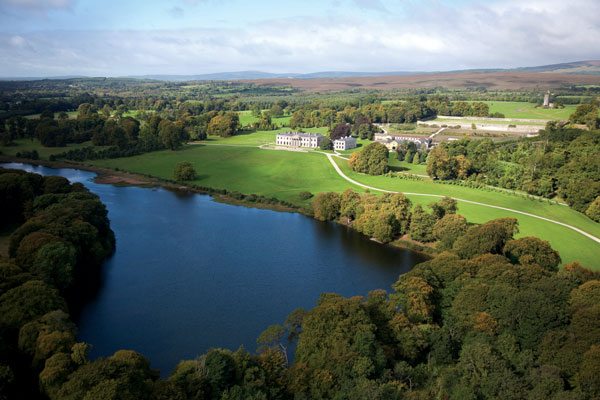 A grand Irish country estate, Ballyfin was built in the 1820s and is fabled for its natural and man-made beauties, including the tower built as a folly (top right) in the 1860s. (Photo courtesy Ballyfin)