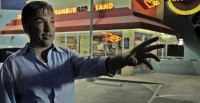Matthew Boger visits the streets of West Hollywood, where he was savagely attacked at age 14. Source: Facingfearmovie.com