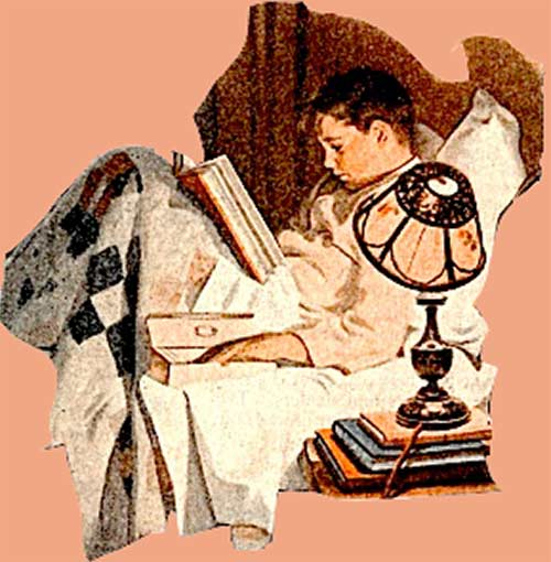 Edison Lamp Ad - Boy reading in bed.