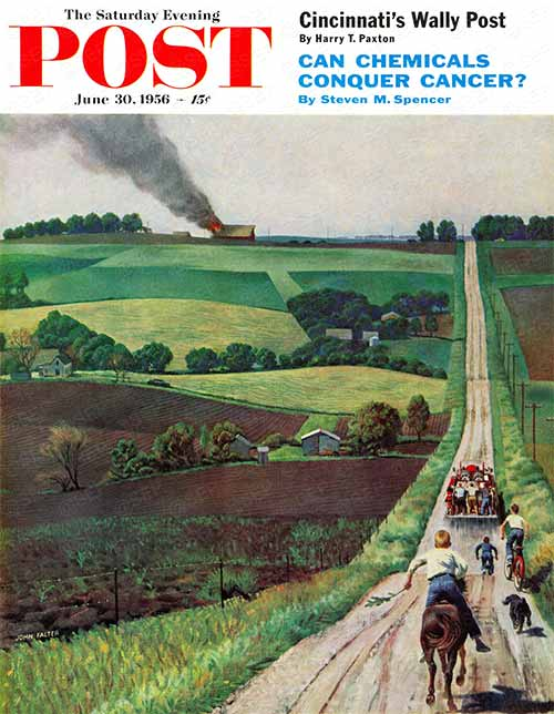 Chasing the Fire Truck by John Falter From June 30, 1956