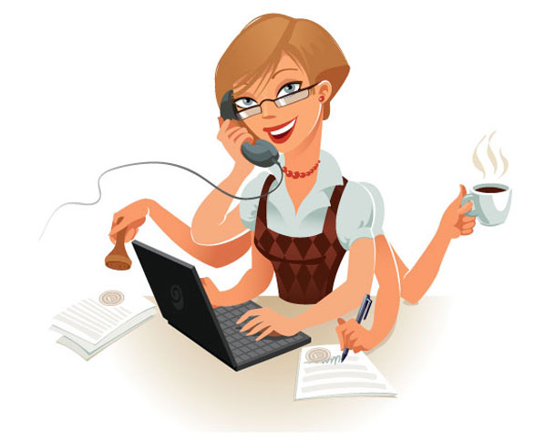 Female secretary handling multiple tasks at once. Source: Shutterstock.com/ © Lyudmyla Kharlamova