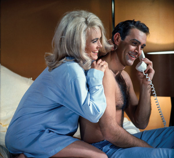 Shirley Eaton and Sean Connery in Goldfinger.