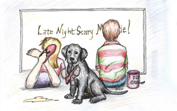 Sketch of two young children watching a scary movie while a puppy chews on a ballet slipper nearby. Illustration by Karen Donley-Hayes