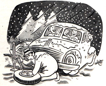 Singing kids while dad changes tire, cartoon