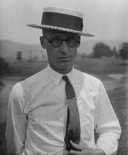 Photograph of John Scopes taken one month (June 1925) before the Tennessee v. John T. Scopes Trial. From the Smithsonian Institution Archives.