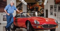 Jay Leno with Jaguar XK-E