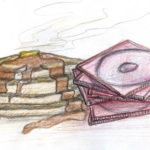 Illustration of a stack of pancakes and a stack of jewel cased CDs. Illustration by Karen Donley-Hayes