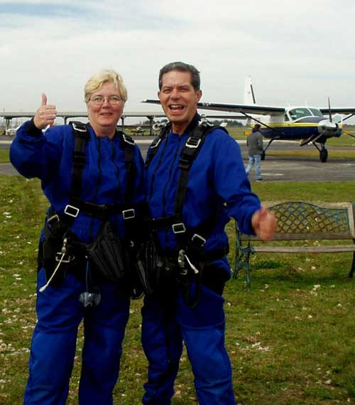 Linda Barbosa (left) and her husband Joe (right) just before they boarded the plane for their tandem jumps. <br /> Photo taken by Skydive Miami.