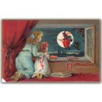 Halloween postcard of two girls watching witch on broom
