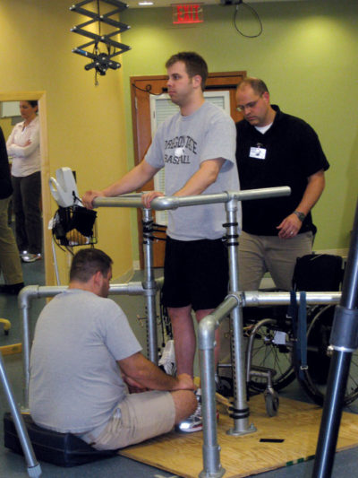Paralyzed in a hit-and-run accident, Rob Summers is now able to stand and voluntarily move his toes, ankles, knees, and hips on command with the aid of electrical stimulation. Photo Courtesy Rob Summers.