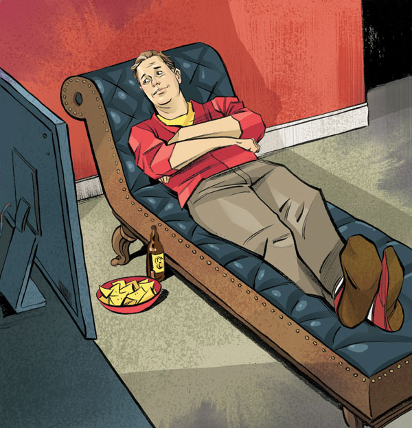 TV sports as therapy? Passionate fans tend to have lower rates of depression and higher self-esteem than the rest of us. Illustration by Kagan Mcleod.