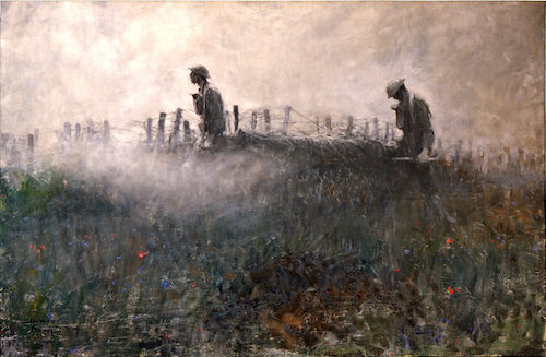 Two World War 1 soldiers walking in the twilight