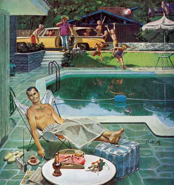 <em>Unwelcome Pool Guests</em> <br /> Thornton Utz <br /> July 22, 1961 © SEPS2014