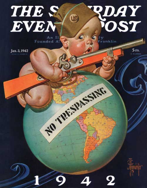 <strong>From the archive:</strong> J.C Leyendecker's 1942 New Year's Baby reflected the anxiety felt by the American public as we dropped our isolationist stance and prepared for war.