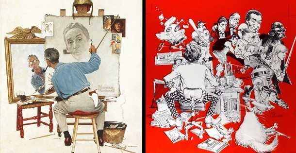 Norman Rockwell's Triple Self-Portrait, and the MAD Magazine spoof
