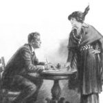 A woman talking to a seated man