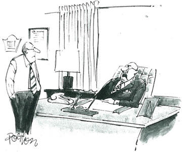 Cartoon of a boss talking about retirement
